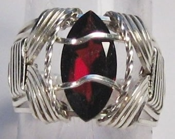 Garnet Ring Size 5 Ring Sterling Silver Ring Marquise Cut Garnet Ring Wire Wrapped Ring Argentium Silver January Birthstone