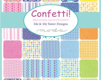Confetti Bundle of 40 Cotton Fabrics from the Confetti Collection by My and My Sister Designs for Moda, Choose the Cut