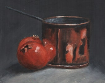 Pomegranates with copper pan