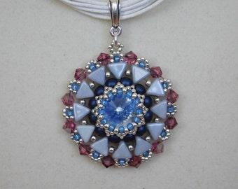 Bead Pendant Tutorial, Beaded Pattern, Jewelry Instructions, Beadweaving, Necklace, Kheops bead, Swarovski, Rivoli, 4mm Bicone, PDF, DIY