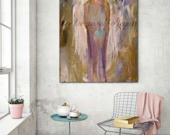 "Guardian Angel - Neutral Abstract Religious Art Print from Original Painting - ""Angel of Light"""
