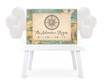 Backdrop Party Table Adventure Begins Map Compass Baby Shower Printable back drop BD6412