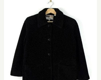 ON SALE Vintage Oversized Black Button Down Fleece Jacket from 90's*