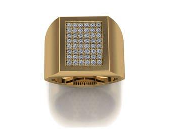 14K Yellow Gold  Men's  Ring With  White  Diamonds M-MRG1005