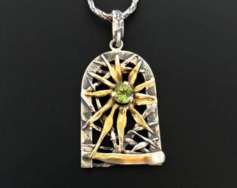 Sunshine pendant, Peridot Pendant, Silver and Gold pendant, gift for her, birthday gift