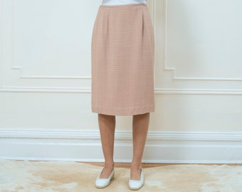 vintage pink plaid skirt large | blush pencil skirt | jones new york | pale pastel pink midi skirt | muted pink skirt | 10 | 1990s | 90s