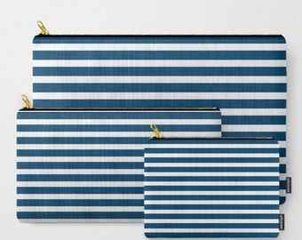 Navy and White Zipper Pouch, Navy Blue Pouch, Pencil Pouch, Coin Pouch, SKU: AAT