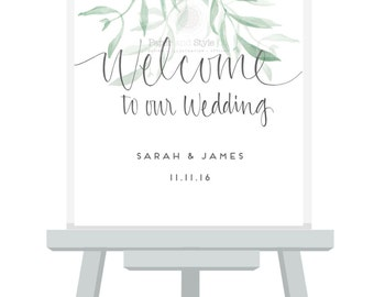 Welcome To Our Wedding SIGNAGE A3/A2/A1 Sizes/GUMLEAF DESIGN