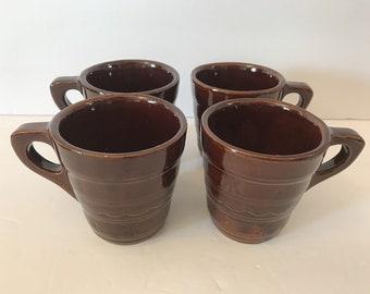 Set 4 Marcrest Daisy Dot Coffee Mugs Brown Stoneware Dishes Mar-Crest Mar Crest