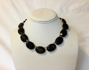 1920s Black Glass Necklace / Black Faceted Glass Necklace / Vintage Glass Necklace