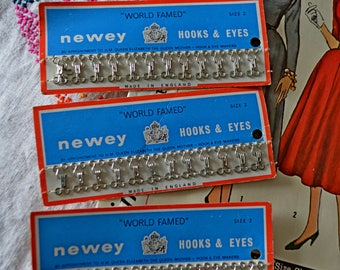 ORIGINAL 1950'S 1940's hooks and eyes 'world famed' by NEWEY size 2 COLLECTOR sewing crafting