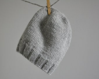 Gray Knit Baby Alpaca Hat / Men's Grey Winter Hat / Gift for Him