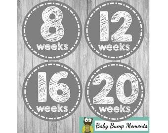 DIGITAL Printable Belly Stickers, Pregnancy Stickers, Maternity Stickers, Chalkboard Gray, PDF
