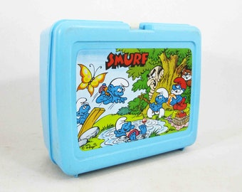 Vintage Smurfs Plastic Lunchbox by Thermos. Circa 1980's.