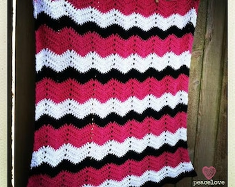 Crochet Cotton Chevron Baby Blanket~Ready to ship~FREE SHIPPING