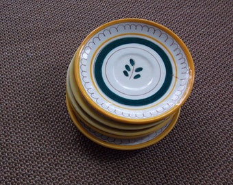 VINTAGE LISTING: Lot of 5 Yellow Stangl Spring Hand Painted Green Sprig Dessert Plates Dishware Dining