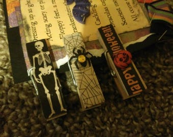 Halloween Themed Mini Clothespin Magnets