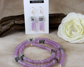 "24"" Lavender, Fluorite and Moonstone Necklace & Earrings - Hera"