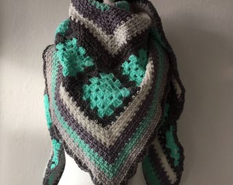 large crochet shawl gray And seagreen