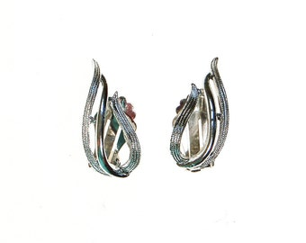 Sarah Coventry Silver Flame Earrings, Clip On, 1970s