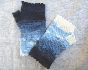 Denim and Cream Scalloped Fingerless Gloves crocheted feminine wrist warmers texting gloves