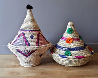 Large Berber handwoven wicker basket