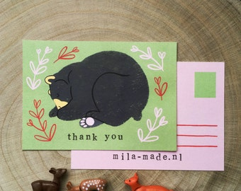 Sleeping Bear Illustration 'thank you' card