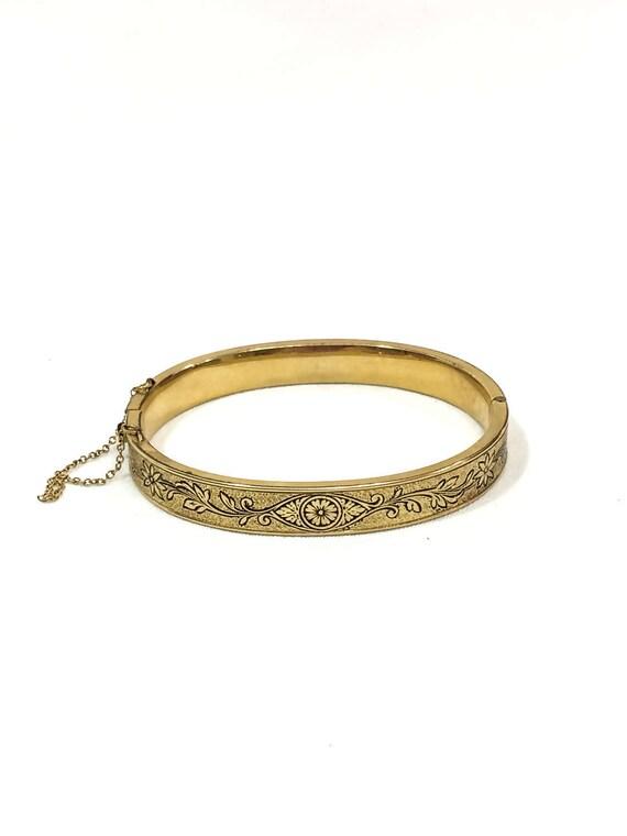 Victorian Gold Filled Bangle Bracelet, Rose Gold, Taille d'Epargne Black Enamel, Floral Flower Foliate Motif, PSL, 1960s Vintage Jewelry