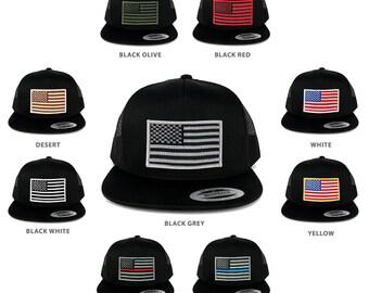 FLEXFIT 5 Panel American Flag Patched Snapback Mesh Cap - Black (6006-blkmesh)