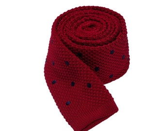 Wine Red Neck Ties With Navy Dots.Skinny Ties.Wedding Ties.Groomsmen Neckties