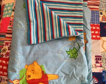 Winnie the Pooh blue fleece backed baby throw,baby quilt, play blanket