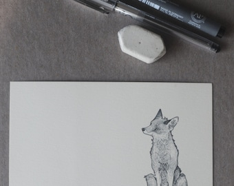 Sitting Fox Drawing. Fox Illustration, Fox Postcard, Fox Art, Handmade Fox Stationery, Original Design Fox, Fox Message Card, A6 Print