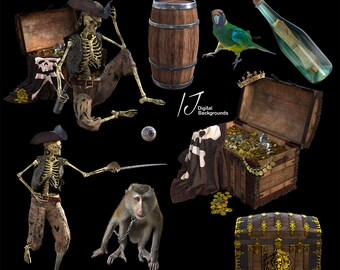 Pirates treasure chests maps swords adventure buried treasure