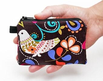 Mini Makeup Bag, Small Women's Zipper Purse, Travel Zipper Wallet, Zipper Coin Purse, Fabric Coin Pouch - birds and flowers in brown