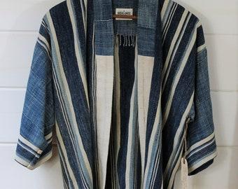 Indigo Stripe Mud Cloth Kimono