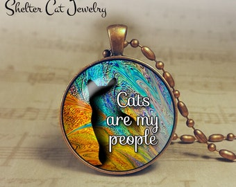 "Cats Are My People Pendant - Blue and Gold - 1-1/4"" Round Pendant Necklace or Key Ring - Handmade Wearable Shelter Cats Photo Art Jewelry"