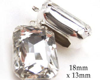 Crystal Glass Beads - Rhinestone Earrings or Pendants - 18x13 Octagons - Glass Gems - 18mm x 13mm - One Pair