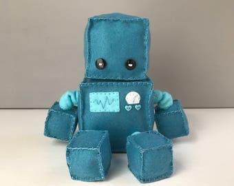 Felt robot softie - dusty blue