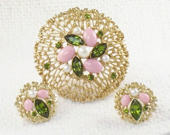 Vintage 1968 Sarah Coventry Fashion Splendor Set - Large Mod 60's Brooch and Earrings with Pink and Green Stones on Gold Filigree