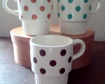 Set of 3 vintage stackable polka dot mugs, Ceramic stackable tea or coffee mugs, Vintage mugs turquoise, brown and tan