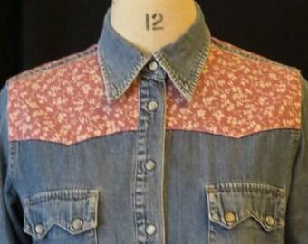Women's Vinatge Denim Shirt with Vintage Laura Ashley Print fabric (Size Small)