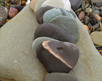 Beach Stone Pebbles, 10 Pieces from the Irish Coast