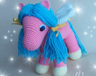 Flying Pony Crochet toy Pink and Blue Colours Will be made JUST FOR YOU