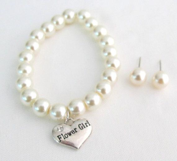Flower Girl Bracelet, Flower girl Jewelry,Personalized Children Jewelry Child Bracelet,Flower Girl Gift ,Ivory Bracelet Free Shipping In USA