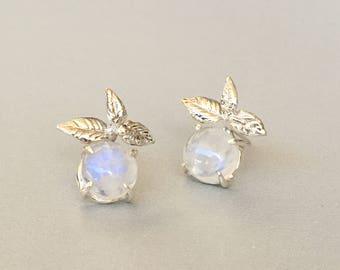 Rainbow Moonstone Earrings  Rose Gold Earrings sterling silver Leaves Stud earrings Bridesmaid gift