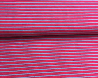 Turquoise stripe jersey fabric and pink 100% cotton