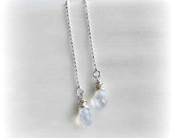 Moonstone Earrings, Threader Earrings, Moonstone Jewelry Delicate Earrings Rainbow Moonstone Earrings Sterling Silver Gift for Her Blissaria