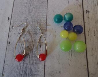 Ton argent Vintage interchangeables Moon Glow perle boucles d'oreilles fil