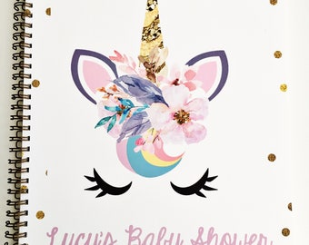 Baby Shower Journal and Guest Book, baby shower keepsake and gift record, personalization available, unicorn baby shower