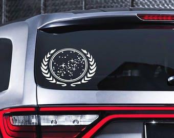 Star Trek Decal United Federation of Planets Decal Car Window Vinyl Decal
